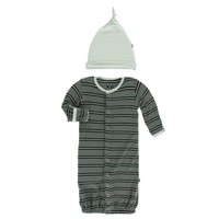 KICKEE PANTS PRINT LAYETTE GOWN CONVERTER & KNOT HAT SET IN SUCCULENT KENYA STRIPE