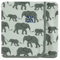 KICKEE PANTS PRINT SWADDLING BLANKET IN ALOE ELEPHANTS