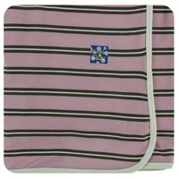 KICKEE PANTS PRINT SWADDLING BLANKET IN ELDERBERRY KENYA STRIPE