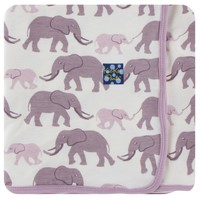 KICKEE PANTS PRINT SWADDLING BLANKET IN NATURAL ELEPHANT