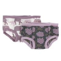 KICKEE PANTS TRAINING PANTS SET IN NATURAL ELEPHANTS & AFRICAN VIOLETS