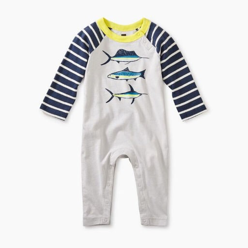 TEA DEEP SEA RAGLAN GRAPHIC ROMPER
