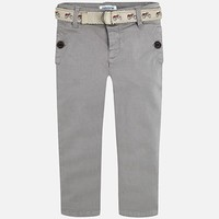 MAYORAL USA SATIN CHINO PANTS WITH BELT SLIM FIT