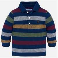 MAYORAL USA LONG SLEEVED POLO SHIRT WITH STRIPES