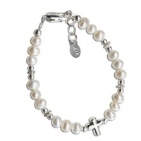 CHERISHED MOMENTS, LLC STERLING SILVER PEARL BAPTISM BRACELET WITH CROSS