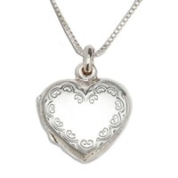 CHERISHED MOMENTS, LLC STERLING SILVER SCROLLED HEART LOCKET