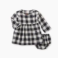 TEA CHECKERED PLAID BABY DRESS