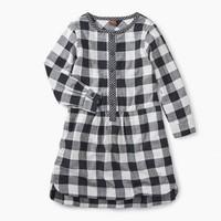 TEA CHECKERED PLAID SHIRT DRESS