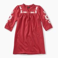 TEA EMBROIDERED HENLEY DRESS