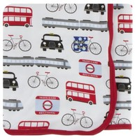 KICKEE PANTS PRINT SWADDLING BLANKET IN LONDON TRANSPORT
