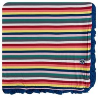 KICKEE PANTS PRINT RUFFLE TODDLER BLANKET IN BRIGHT LONDON STRIPE