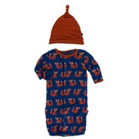 KICKEE PANTS PRINT LAYETTE GOWN CONVERTER & KNOT HAT SET IN NAVY FOX