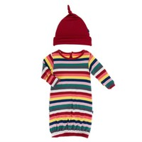 KICKEE PANTS PRINT LAYETTE GOWN & SINGLE KNOT HAT SET IN BRIGHT LONDON STRIPE