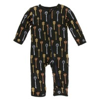 KICKEE PANTS PRINT COVERALL WITH ZIPPER IN VICTORIAN KEYS