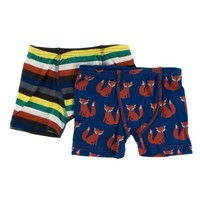 KICKEE PANTS BOXER BRIEFS SET IN DARK LONDON STRIPE AND NAVY FOX
