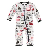 KICKEE PANTS PRINT COVERALL WITH ZIPPER IN LONDON TRANSPORT