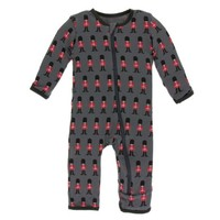 KICKEE PANTS PRINT COVERALL WITH ZIPPER IN QUEENS GUARD