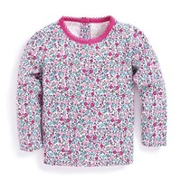JOJO MAMAN BEBE PRETTY FLORAL ROUND NECK TOP