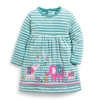 JOJO MAMAN BEBE APPLIQUE ELEPHANT DRESS