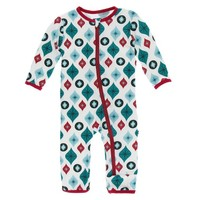 KICKEE PANTS HOLIDAY COVERALL WITH ZIPPER IN VINTAGE ORNAMENTS