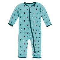 KICKEE PANTS HOLIDAY COVERALL WITH ZIPPER IN HOLIDAY LIGHTS