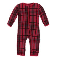 KICKEE PANTS HOLIDAY COVERALL WITH ZIPPER IN CHRISTMAS PLAID