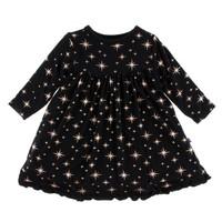 KICKEE PANTS HOLIDAY CLASSIC LONG SLEEVE SWING DRESS IN BRIGHT STARS