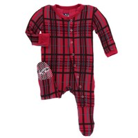 KICKEE PANTS HOLIDAY FOOTIE W/SNAPS IN CHRISTMAS PLAID