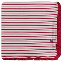 KICKEE PANTS HOLIDAY RUFFLE TODDLER BLANKET IN ROSE GOLD CANDY CANE STRIPE