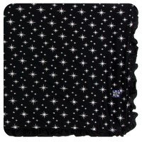 KICKEE PANTS HOLIDAY RUFFLE TODDLER BLANKET IN SILVER BRIGHT STARS