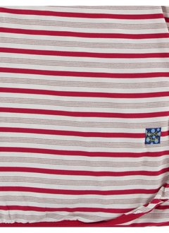 KICKEE PANTS HOLIDAY SWADDLING BLANKET IN ROSE GOLD CANDY CANE STRIPE