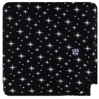 KICKEE PANTS HOLIDAY SWADDLING BLANKET IN SILVER BRIGHT STARS