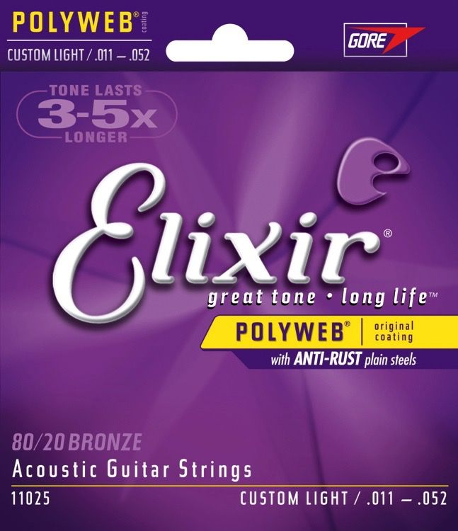 Elixir - 80/20 Bronze (Polyweb) Coated Acoustic, 11-52 Custom Light