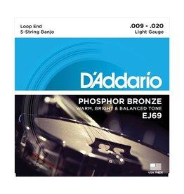 D'Addario - EJ69 Nickel Wound, Light 5 String Banjo