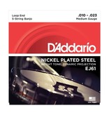 D'Addario - EJ61 Nickel Wound, Medium 5 String Banjo