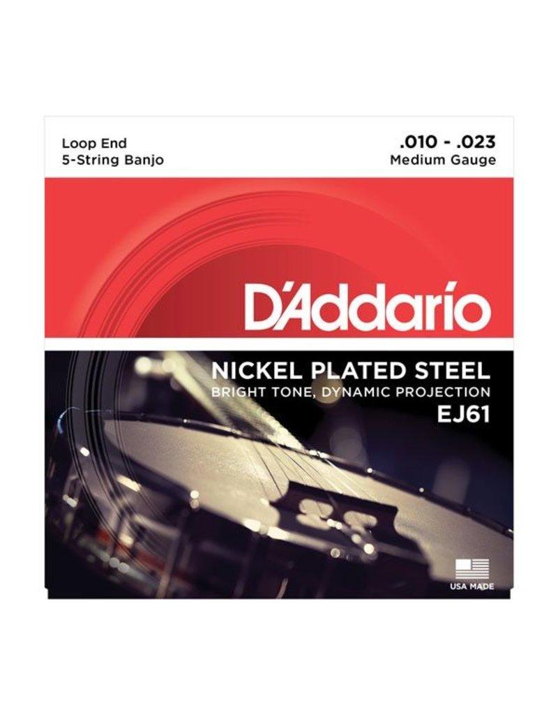D'Addario - EJ61 Nickel Wound, Medium 5 String Banjo