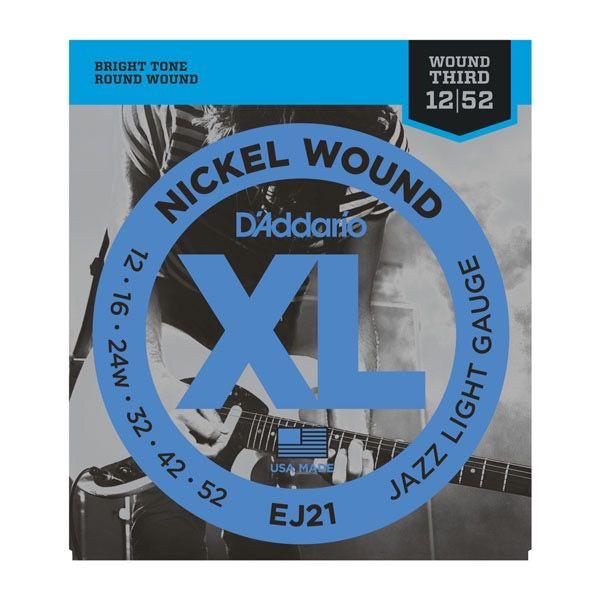 D'Addario - EJ21 XL Nickel Wound,  12-52 Jazz Light
