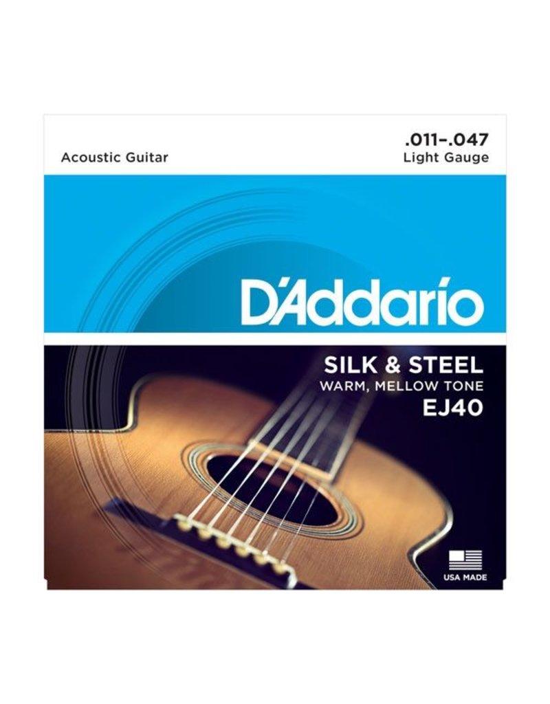 D'Addario - EJ40 Silk and Steel Folk, 11-47 Silver Wound