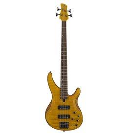 Yamaha - TRBX 604, 4 String Bass, Matte Amber, Flame Maple Top