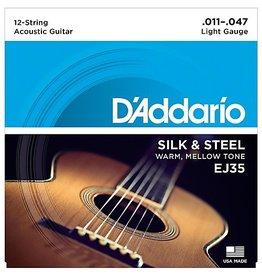 D'Addario - EJ35 Silk and Steel Folk, 11-47 12 String Silver Wound