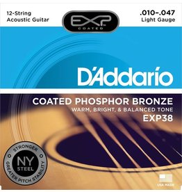 D'Addario - EXP38 Coated Phospher Bronze Acoustic Strings, 12 String, Light