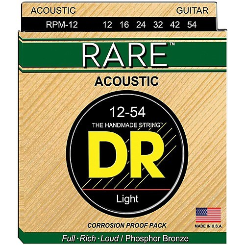 DR Strings - RARE Phosphor Bronze Acoustic, 12-54 Light