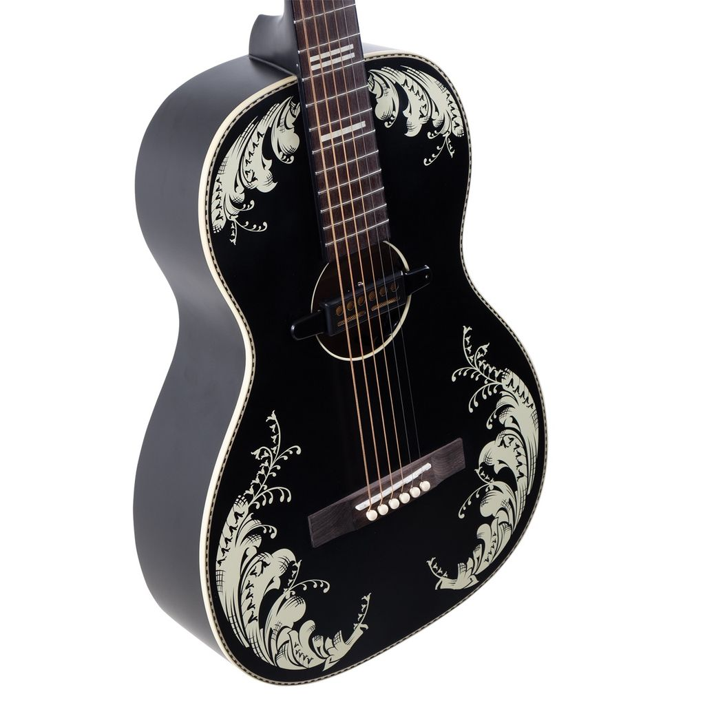Recording King - RPS-7L-E-MBK Lily-of-the-Valley Artwork Parlour w/Gold Foil Soundhole Pickup