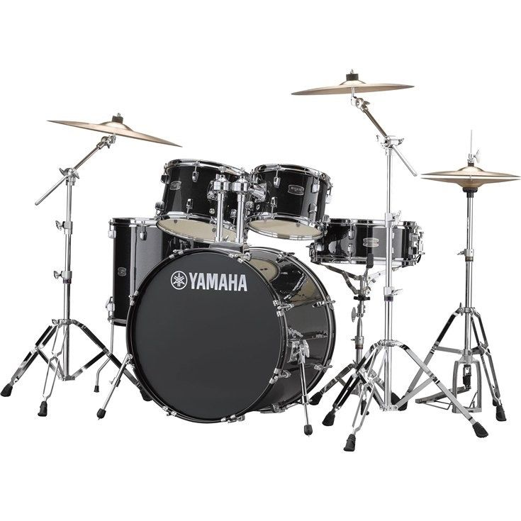 "Yamaha - Rydeen Drum Kit (10,12,14, 20, 14""sn), w/Hardware & Cymbals, Black Glitter"