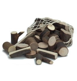 Gluckskafer Branch Wood Blocks in Net Bag (34 pcs)