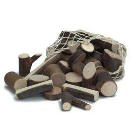 Gluckskafer Branch Wood Small Blocks in Net Bag (34 pcs)