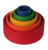 Grimm's Small Stacking Bowls, Multi-coloured 5 pcs outside Red