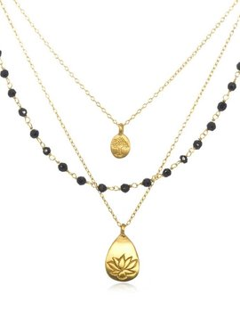 Satya Onyx Lotus Tree Necklace