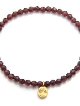 Satya Gold Garnet Tree of Life Stretch Bracelet