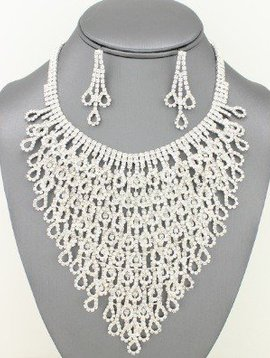 Rhinestone Cascade Necklace Set